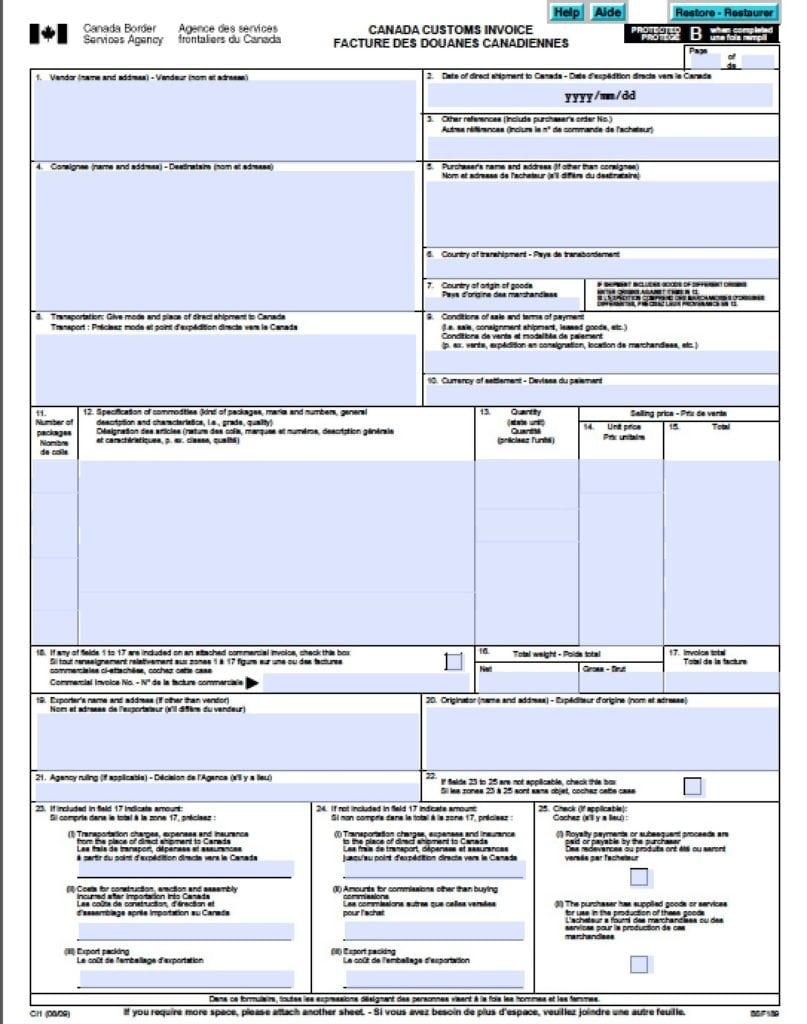 Canada Customs Form